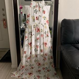 Floral maxi halter dress with high slits